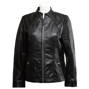 Dámská kožená bunda s perforací bata, černá, 974-6153 - 13