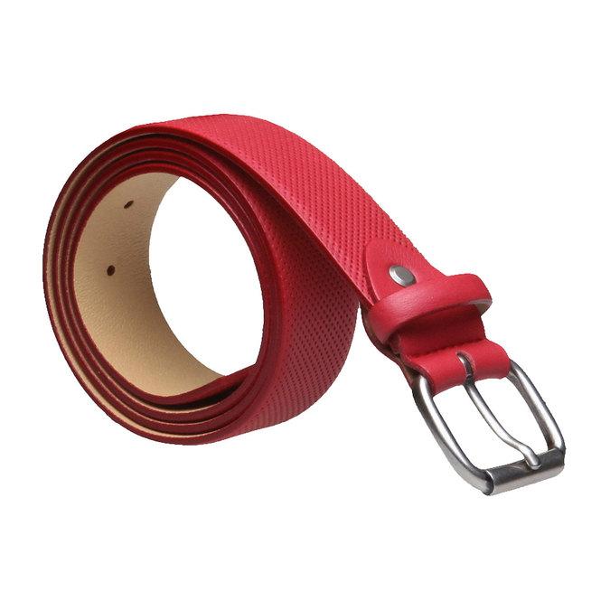 Kožený opasek s perforací bata, červená, 954-5154 - 13