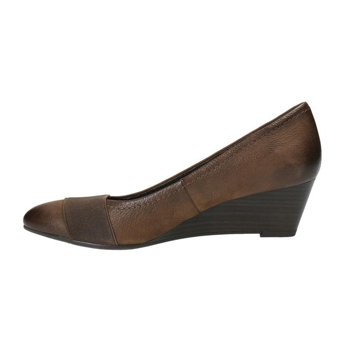 Kožené lodičky na klínovém podpatku bata, hnědá, 626-4603 - 26