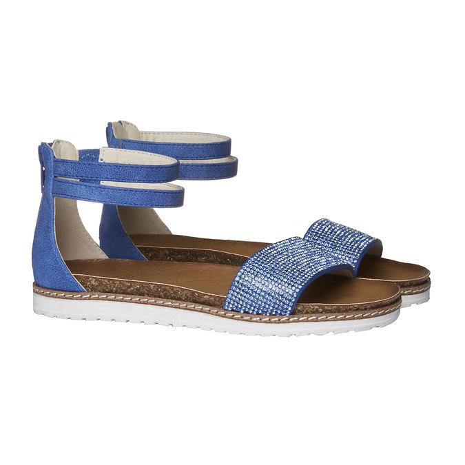 Dívčí sandály s kamínky mini-b, modrá, 361-9161 - 26