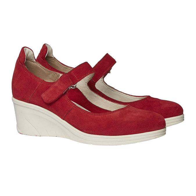 Kožené lodičky na klínovém podpatku bata-touch-me, červená, 623-5392 - 26