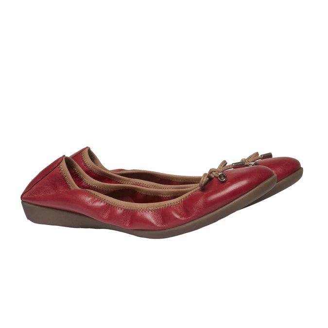 Červené kožené baleríny bata, červená, 524-5485 - 26