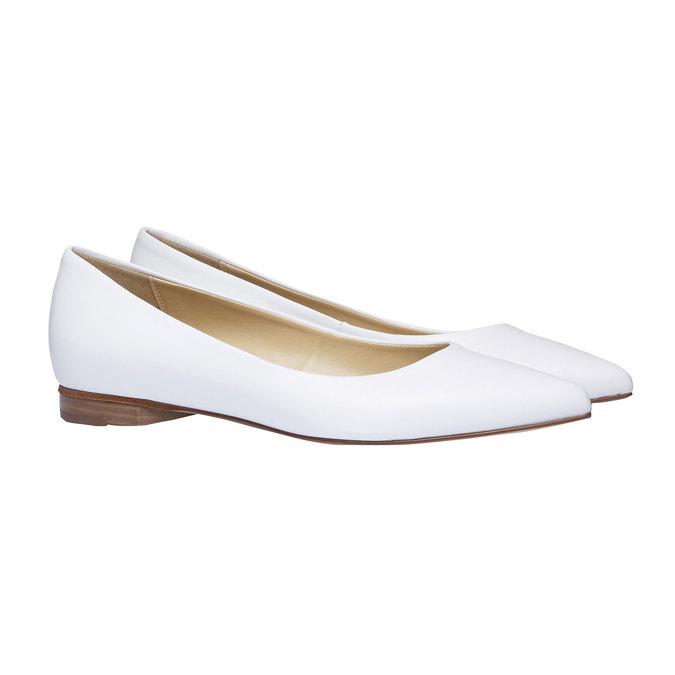 Bílé kožené baleríny do špičky bata, bílá, 524-1493 - 26