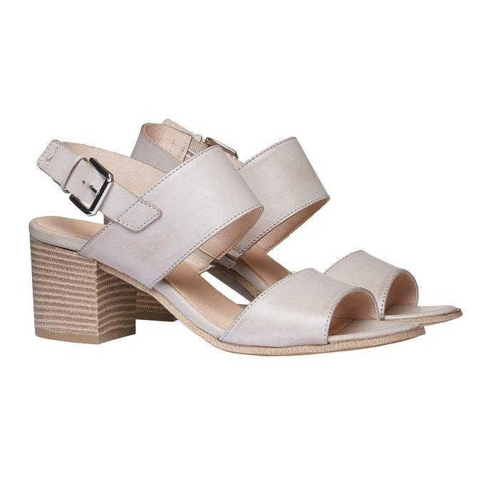 Kožené sandály na širokém podpatku bata, šedá, 664-2205 - 26