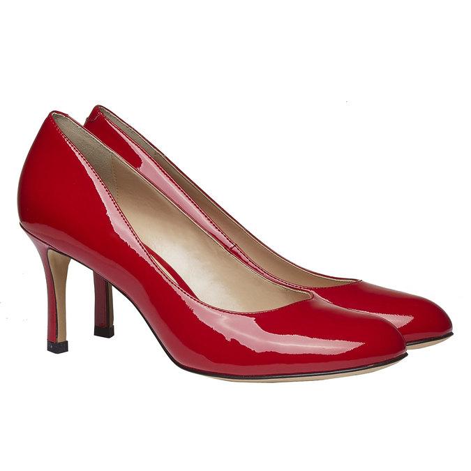 Červené kožené lodičky bata, červená, 728-5953 - 26