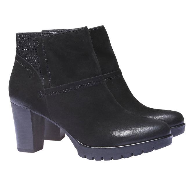 Kožená kotníčková obuv bata, černá, 796-6122 - 26