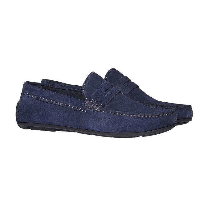 Pánské kožené mokasíny bata, modrá, 853-9180 - 26