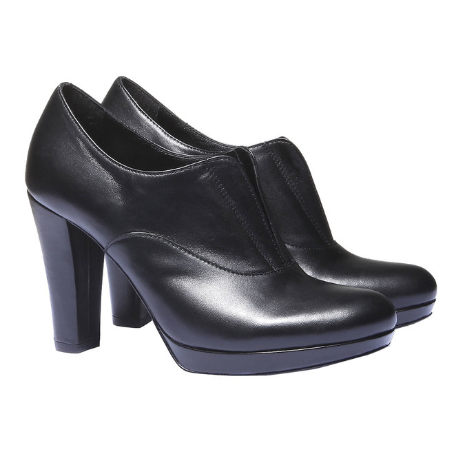 Kožené kozačky na vysokém podpatku bata, černá, 724-6601 - 26