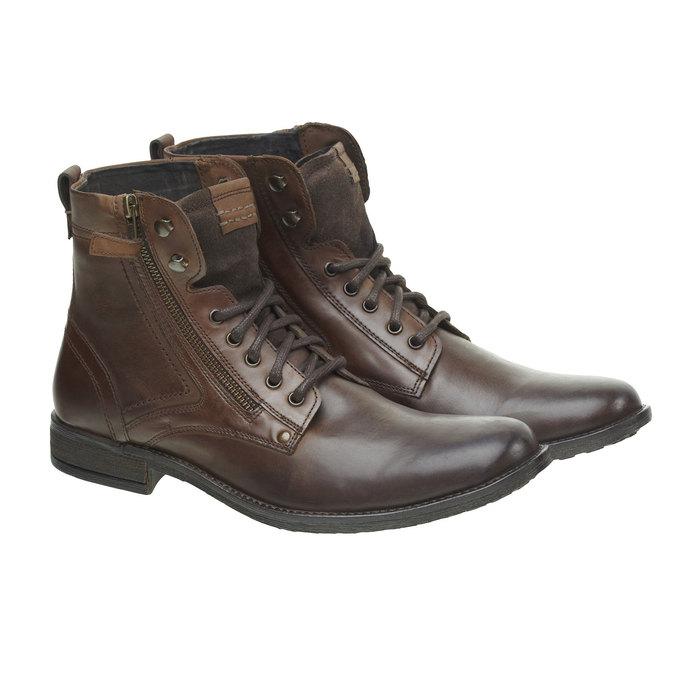 Kožená kotníčková obuv bata, hnědá, 894-4449 - 26