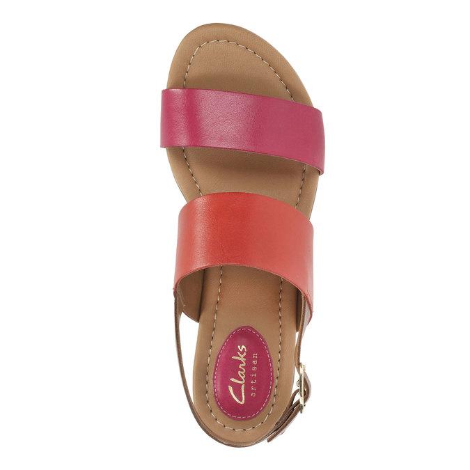 Kožené sandály s barevnými pásky clarks, červená, 564-5010 - 19