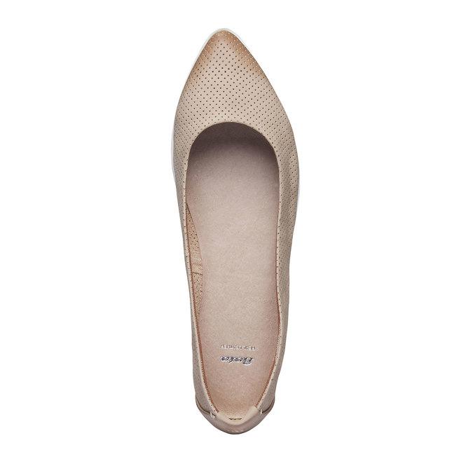Kožené baleríny s perforací bata, béžová, 526-8486 - 19