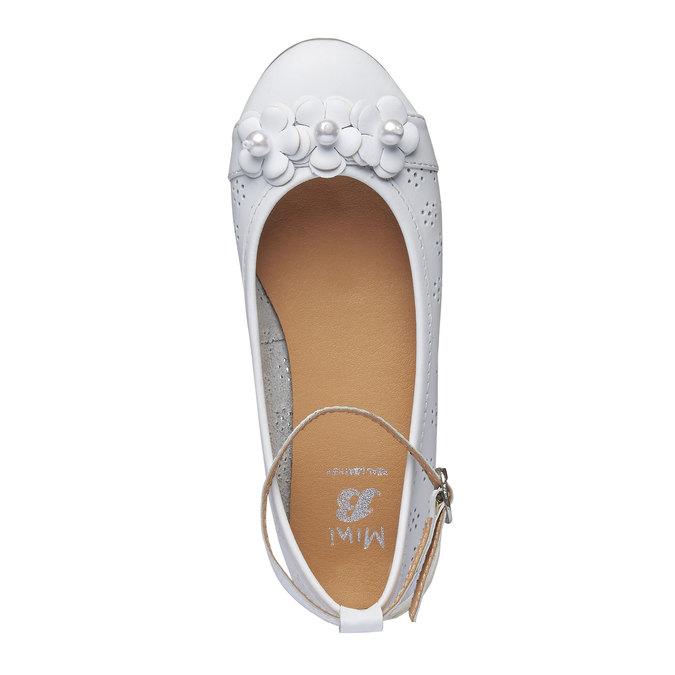 Kožené dívčí baleríny s perličkami mini-b, bílá, 324-1170 - 19