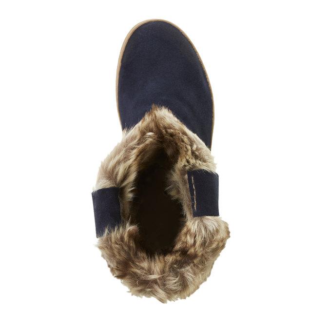 Dámské kožené kozačky s kožíškem bata, modrá, 593-9104 - 19