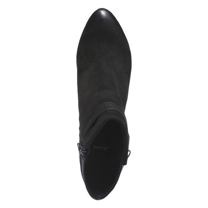 Kožená kotníčková obuv na podpatku bata, černá, 696-6105 - 19