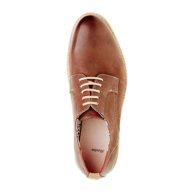 Kožené polobotky s výraznou podešví bata, hnědá, 824-4694 - 19