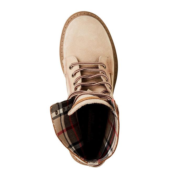 Kožené kotníčkové boty s výraznou podešví weinbrenner, béžová, 596-8170 - 19