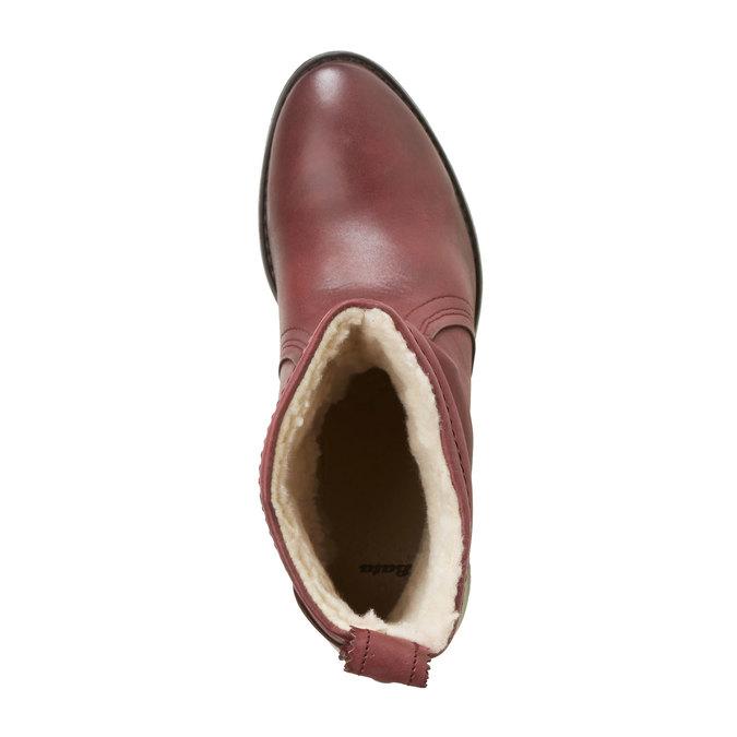 Kožená kotníčková obuv bata, červená, 696-5108 - 19