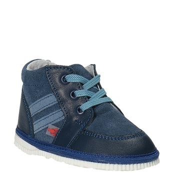 Dětská kožená domácí obuv bata, modrá, 104-9001 - 13