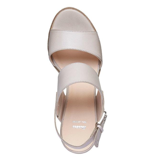 Kožené sandály na širokém podpatku bata, šedá, 664-2205 - 19