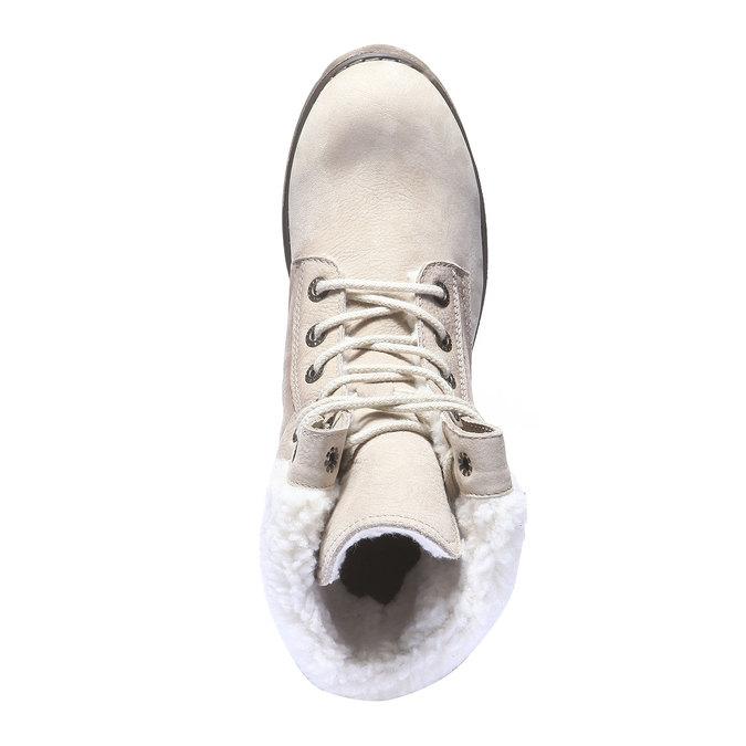 Kožená zimní obuv s kožíškem weinbrenner, béžová, 696-8168 - 19