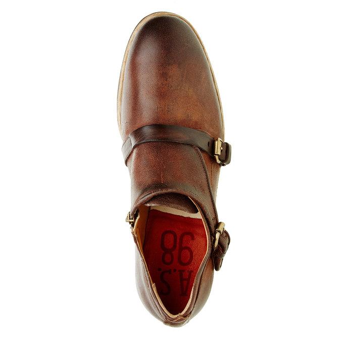 Pánská kožená obuv ve stylu Monk a-s-98, hnědá, 826-7001 - 19