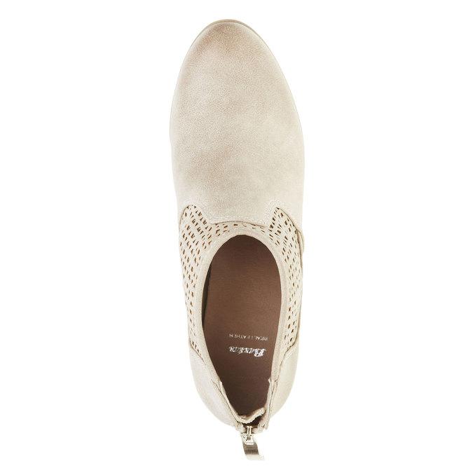 Kotníčkové kozačky na podpatku bata, béžová, 691-8106 - 19