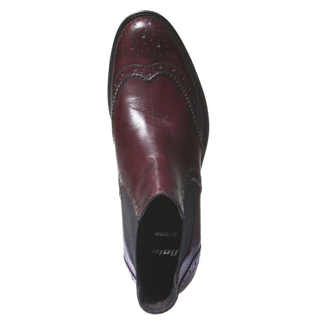Kožené boty chelsea se zdobením typu brogue bata, červená, 594-5532 - 19