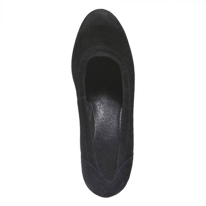 Kožené lodičky na širokém podpatku gabor, černá, 626-6320 - 19
