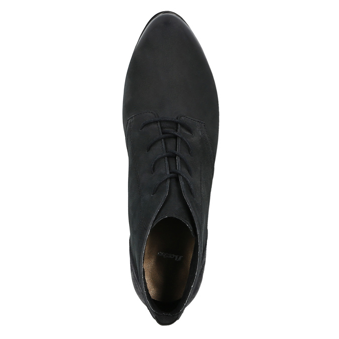 Kožená kotníčková obuv na podpatku bata, černá, 796-6602 - 19