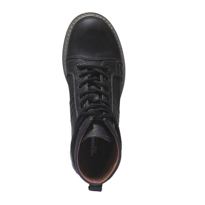 Kožená obuv s originálními tkaničkami weinbrenner, černá, 594-6409 - 19