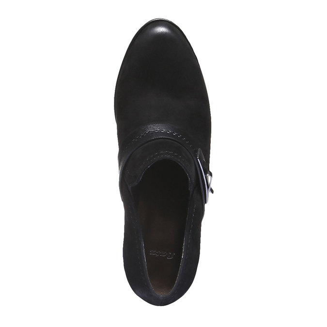 Kožená kotníčková obuv na podpatku bata, černá, 696-6102 - 19