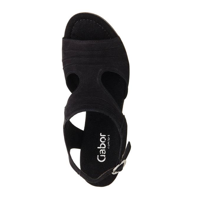 Kožené sandály na nízkém podpatku gabor, černá, 666-6100 - 19