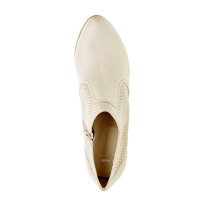 Kožené polobotky na podpatku bata, bílá, 724-8932 - 19