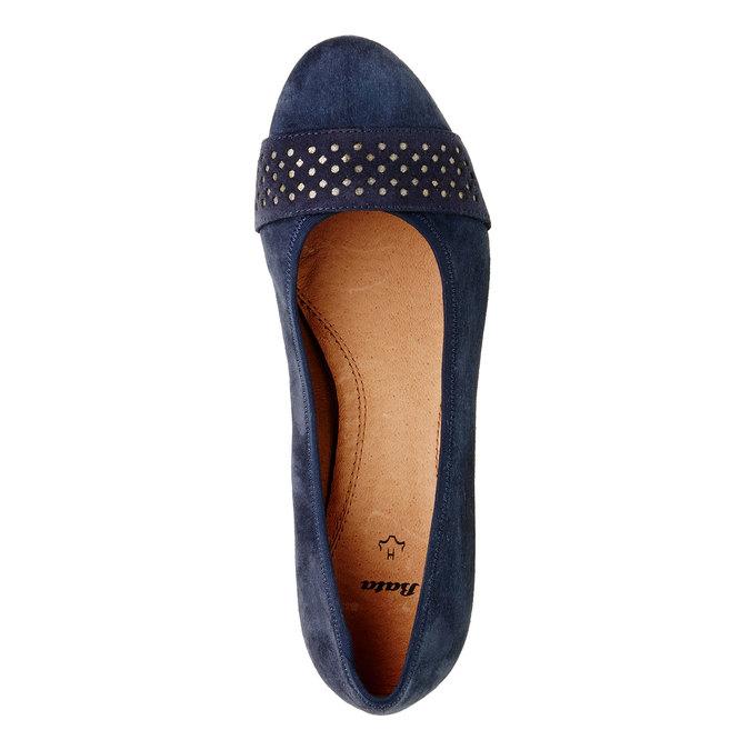 Kožené lodičky pro širší chodidla bata, modrá, 623-9100 - 19