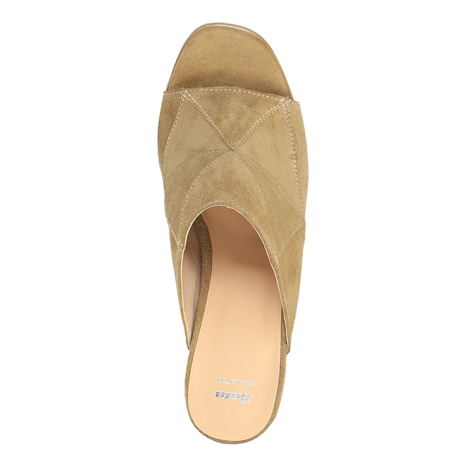 Kožené nazouváky na širokém podpatku bata, hnědá, 763-3516 - 19