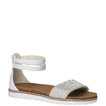 Dětské sandály s kotníčkovým páskem mini-b, bílá, 361-1161 - 13