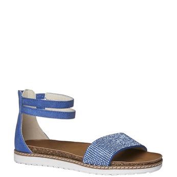 Dívčí sandály s kamínky mini-b, modrá, 361-9161 - 13