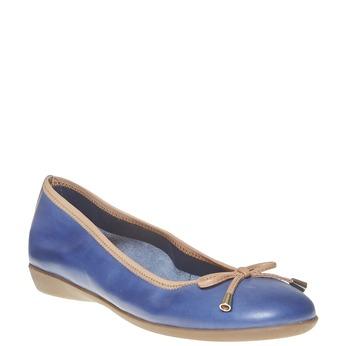 Dámské kožené baleríny bata, modrá, 524-9485 - 13