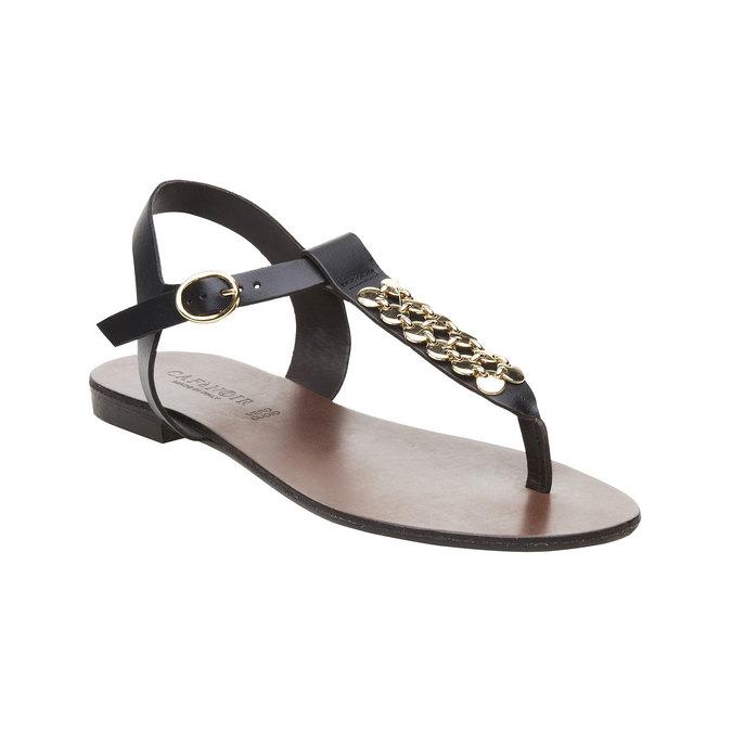 Dámské kožené sandály s T-páskem cafe-noir, černá, 564-6040 - 13
