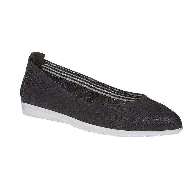 Kožené baleríny s perforací bata, černá, 526-6486 - 13