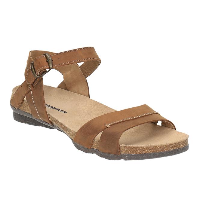 Dámské kožené sandály weinbrenner, hnědá, 566-4102 - 13