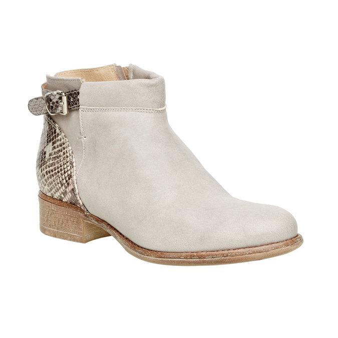 Kožené kotníčkové boty manas, šedá, 596-2109 - 13