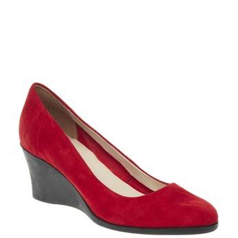 Kožené lodičky na klínovém podpatku flexible, červená, 623-5395 - 13