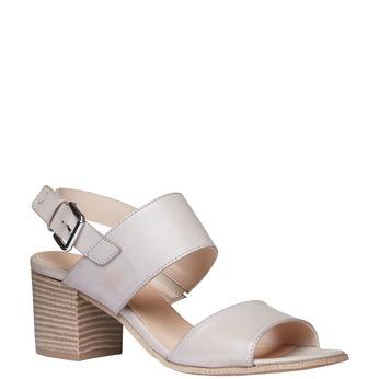 Kožené sandály na širokém podpatku bata, šedá, 664-2205 - 13