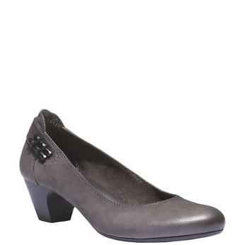 Kožené lodičky na nízkém podpatku bata, šedá, 626-2102 - 13