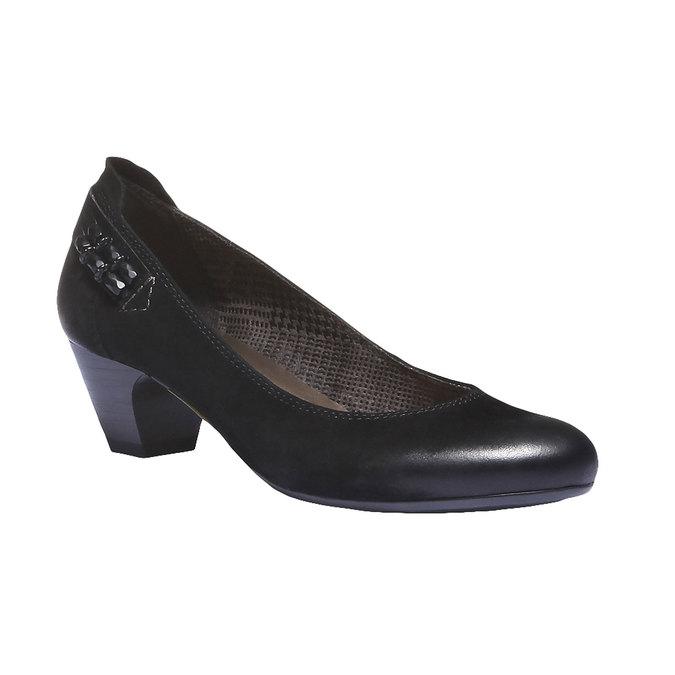 Kožené lodičky na nízkém podpatku bata, černá, 626-6102 - 13