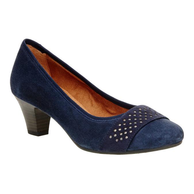 Kožené lodičky pro širší chodidla bata, modrá, 623-9100 - 13