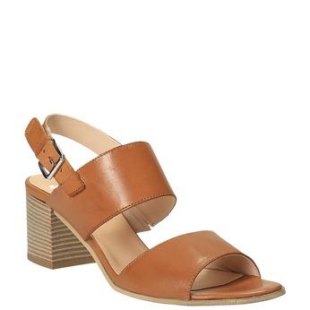 Kožené sandály na širokém podpatku bata, hnědá, 664-3205 - 13