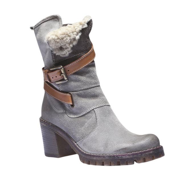 Kožené kozačky s páskem bata, šedá, 693-2143 - 13