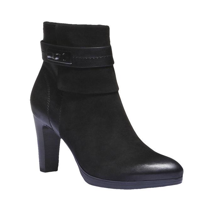 Kožená kotníčková obuv na podpatku bata, černá, 696-6105 - 13